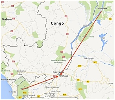 Map 1: Dealers indicated that the two main sources for great apes were the Mayombe Forest in the west and Equateur Province to the northeast, with Mdandaka being the staging point for shipment down the Congo River