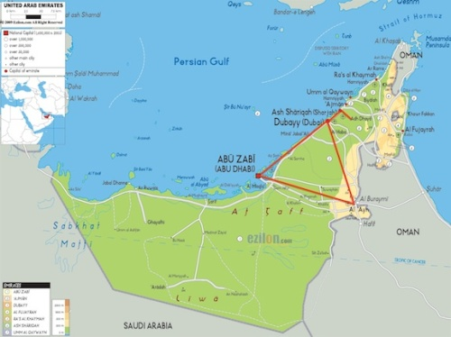 Map of the UAE. The red line shows the places that PEGAS visited.