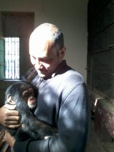 The seized baby chimpanzee with a veterinarian at the Giza Zoo at the time it was deposited. Is it still there?