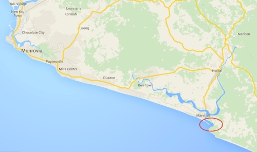 Map showing the location of Monrovia and the chimpanzee islands in the red oval.