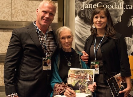Spencer Sekyar, left, met Jane Goodall in Canada and implored her to help free Manno. Jane acted.