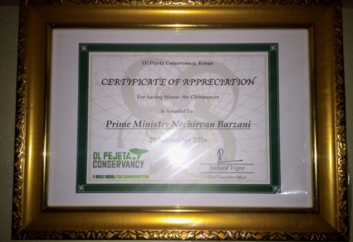 PEGAS prepared a certificate of appreciation for Prime Minister Barzani, which Spencer presented to Mr. Oathman.
